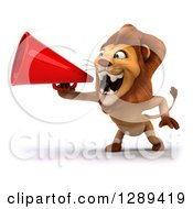 Clipart Of A 3d Male Lion Facing Left And Roaring Into A Megaphone Royalty Free Illustration