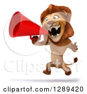 Clipart Of A 3d Male Lion Facing Slightly Left Running And Roaring Into A Megaphone Royalty Free Illustration