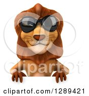 Clipart Of A 3d Male Lion Wearing Sunglasses Over A Sign Royalty Free Illustration