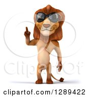Clipart Of A 3d Male Lion Wearing Sunglasses And Holding A Finger Up Royalty Free Illustration