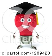 Clipart Of A 3d Happy Red Light Bulb Graduate Character Royalty Free Illustration