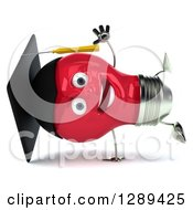 Clipart Of A 3d Happy Red Light Bulb Graduate Character Cartwheeling Royalty Free Illustration