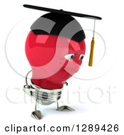 Clipart Of A 3d Pouting Red Light Bulb Graduate Character Facing Right Royalty Free Illustration