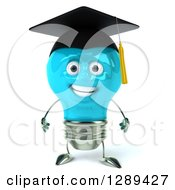Clipart Of A 3d Happy Blue Light Bulb Graduate Character Royalty Free Illustration
