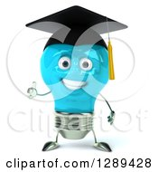 Clipart Of A 3d Happy Blue Light Bulb Graduate Character Giving A Thumb Up Royalty Free Illustration