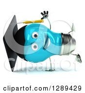 Clipart Of A 3d Happy Blue Light Bulb Graduate Character Cartwheeling Royalty Free Illustration