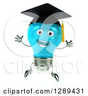Clipart Of A 3d Happy Blue Light Bulb Graduate Character Jumping Royalty Free Illustration