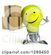 Clipart Of A 3d Happy Yellow Light Bulb Character Holding A Finger Up And Boxes Royalty Free Illustration