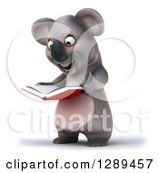 Clipart Of A 3d Excited Koala Facing Left And Reading A Book Royalty Free Illustration