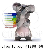 Clipart Of A 3d Bespectacled Koala Holding And Pointing To A Stack Of Books Royalty Free Illustration