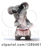 Clipart Of A 3d Koala Wearing Sunglasses Holding And Pointing To A Book Royalty Free Illustration