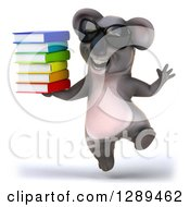 Clipart Of A 3d Happy Koala Wearing Sunglasses And Jumping With A Stack Of Books Royalty Free Illustration