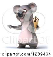 Clipart Of A 3d Koala Pointing To The Left And Holding A Waffle Ice Cream Cone Royalty Free Illustration