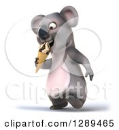 Clipart Of A 3d Koala Walking Slightly To The Left And Eating A Waffle Ice Cream Cone Royalty Free Illustration