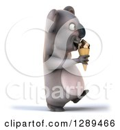 Clipart Of A 3d Koala Walking To The Right And Eating A Waffle Ice Cream Cone Royalty Free Illustration