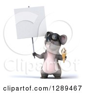 Clipart Of A 3d Koala Wearing Sunglasses Holding A Blank Sign And A Waffle Ice Cream Cone Royalty Free Illustration