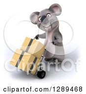 Clipart Of A 3d Koala Facing Slightly Left And Moving Boxes On A Dolly Royalty Free Illustration