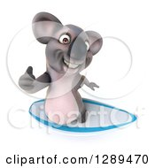 Clipart Of A 3d Koala Holding Up A Thumb And Surfing Royalty Free Illustration