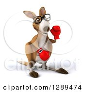 Clipart Of A 3d Bespectacled Fighter Kangaroo Wearing Boxing Gloves And Waving Royalty Free Illustration
