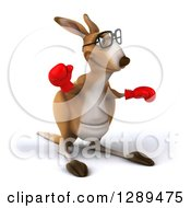 Clipart Of A 3d Bespectacled Fighter Kangaroo Facing Slightly Right Waving And Wearing Boxing Gloves Royalty Free Illustration
