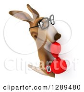 Clipart Of A 3d Bespectacled Fighter Kangaroo Wearing Boxing Gloves And Looking Around A Sign Royalty Free Illustration