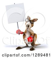 Clipart Of A 3d Bespectacled Fighter Kangaroo Wearing Boxing Gloves And Holding Up A Blank Sign Royalty Free Illustration