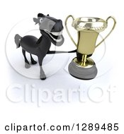Clipart Of A 3d Happy Black Horse Holding Up A Trophy Royalty Free Illustration