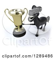 Clipart Of A 3d Happy Black Horse Wearing Sunglasses And Holding Up A Trophy Royalty Free Illustration