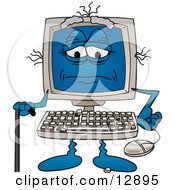 Clipart Picture Of A Really Old Desktop Computer Mascot Cartoon Character With A Cane