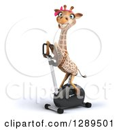 Animal Clipart Of A 3d Female Giraffe Exercising On A Spin Bike 2 Royalty Free Illustration