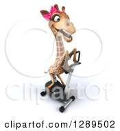 Animal Clipart Of A 3d Female Giraffe Exercising On A Spin Bike 3 Royalty Free Illustration
