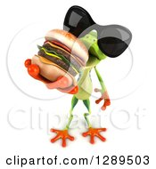 Animal Clipart Of A 3d Argie Frog Wearing Sunglasses Looking Up And Eating A Double Cheeseburger Royalty Free Illustration