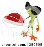 Animal Clipart Of A 3d Argie Frog Wearing Sunglasses And Holding Up A Beef Steak Royalty Free Illustration
