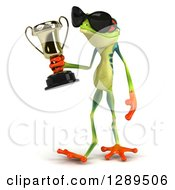 Animal Clipart Of A 3d Argie Frog Wearing Sunglasses Walking Slightly Left And Holding A Trophy Royalty Free Illustration