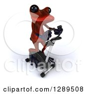 Animal Clipart Of A 3d Red Springer Frog Exercising On A Stationary Bike 5 Royalty Free Illustration