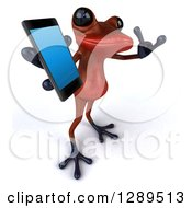 Animal Clipart Of A 3d Red Frog Facing Right Gesturing Call Me And Holding Up A Smart Cell Phone Royalty Free Illustration