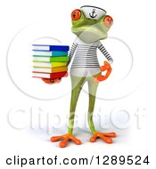 Animal Clipart Of A 3d Bespectacled Green Springer Frog Sailor Holding And Presenting A Stack Of Books Royalty Free Illustration