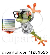 Animal Clipart Of A 3d Bespectacled Green Springer Frog Sailor Leaping To The Left And Holding A Stack Of Books Royalty Free Illustration