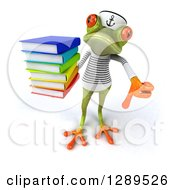 Animal Clipart Of A 3d Bespectacled Green Springer Frog Sailor Holding Up A Stack Of Books And A Thumb Down Royalty Free Illustration