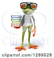 Animal Clipart Of A 3d Bespectacled Green Springer Frog Sailor Holding A Stack Of Books Royalty Free Illustration