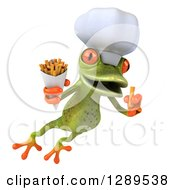 Animal Clipart Of A 3d Green Springer Frog Chef Jumping With French Fries Royalty Free Illustration