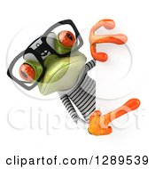 Animal Clipart Of A 3d Bespectacled Green Springer Frog Sailor Pointing Around A Sign Royalty Free Illustration