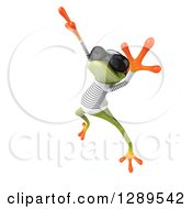 Animal Clipart Of A 3d Green Springer Frog Sailor Wearing Sunglasses Facing Slightly Left And Jumping Royalty Free Illustration