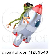 Animal Clipart Of A 3d Green Springer Frog Wearing Shades And Riding A Rocket 4 Royalty Free Illustration