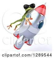 Animal Clipart Of A 3d Green Springer Frog Wearing Shades And Riding A Rocket 5 Royalty Free Illustration