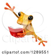 Animal Clipart Of A 3d Yellow Frog Leaping To The Left And Reading A Book Royalty Free Illustration