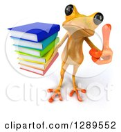 3d Yellow Frog Holding Up A Stack Of Books And A Thumb