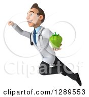 Medical Clipart Of A 3d Young Brunette White Male Doctor Flying Up To The Left And Holding A Bell Pepper Royalty Free Illustration
