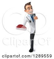Medical Clipart Of A 3d Full Length Young Brunette White Male Doctor Holding A Beef Steak Around A Sign Royalty Free Illustration