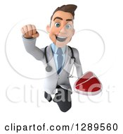 Medical Clipart Of A 3d Young Brunette White Male Doctor Flying And Holding A Beef Steak Royalty Free Illustration